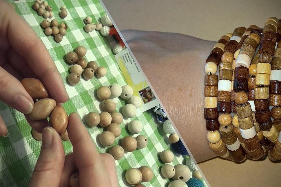 Варианты украшений из деревянных бусин-5