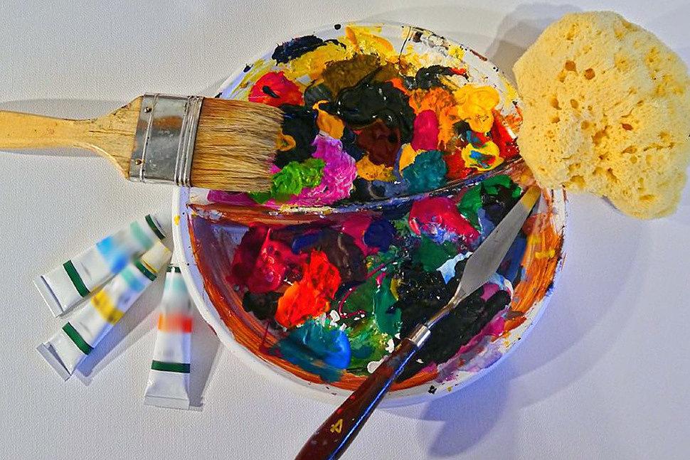 Засохшая акриловая краска для рисования-5