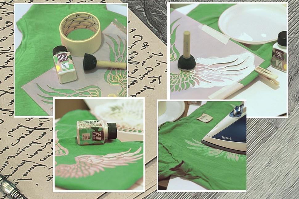 Как сделать принт на футболке акриловой краской-3