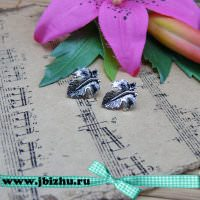 "Пуссеты ""Лист"" серебро, 251313 мм (пара)"