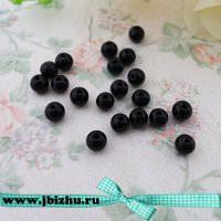 Бусины из чёрного камня, 4 мм (20 шт)