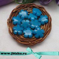 """Бусины из натурального камня жадеит """"Цветок"""" синие, 156 мм (10 шт)"""