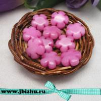 """Бусины из натурального камня жадеит """"Цветок"""" розовые, 156 мм (10 шт)"""