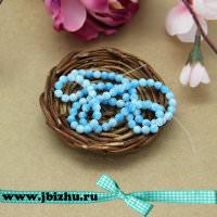 Бусины из синтетического камня голубые на нитке, 5 мм (~90 шт)