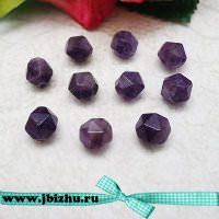 Бусины из натурального аметиста 8 мм, фиолетовые (10 шт)