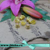 Шапочка для бусин золото, 79 мм (10 шт)
