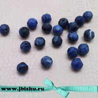 Бусины содалит гранённые синие, 4 мм (20 шт)