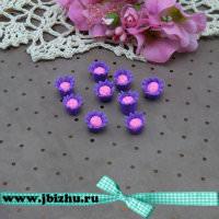 """Бусина Fimo """"Цветочек"""" фиолетовая, 12*16 мм (10 шт)"""