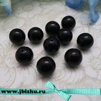 Бусина из натурального камня чёрная, 12 мм (10 шт)