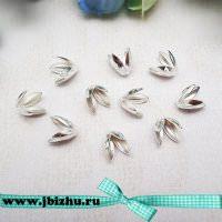 "Шапочки для бусин ""Тюльпан"" серебро, 78 мм (10 шт)"